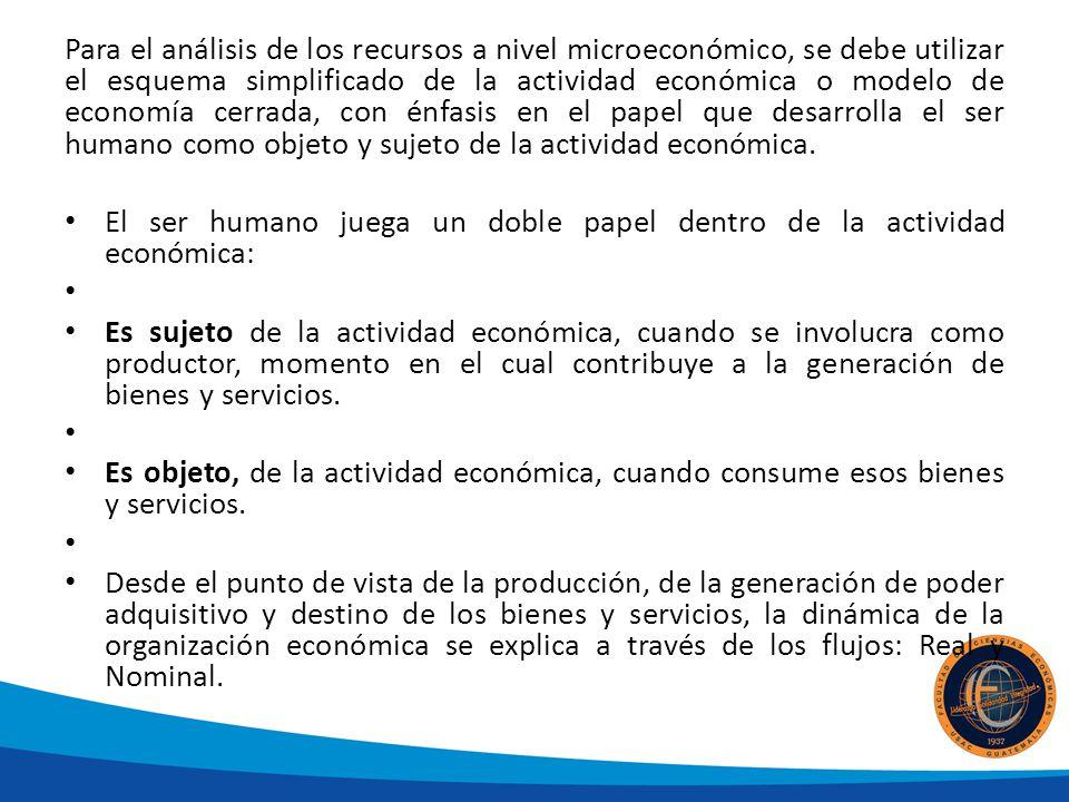 Para el análisis de los recursos a nivel microeconómico, se debe utilizar el esquema simplificado de la actividad económica o modelo de economía cerrada, con énfasis en el papel que desarrolla el ser humano como objeto y sujeto de la actividad económica.