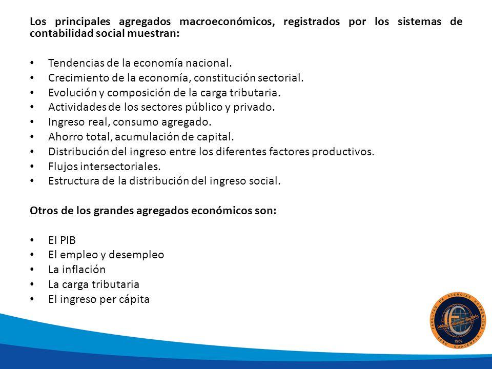 Los principales agregados macroeconómicos, registrados por los sistemas de contabilidad social muestran: