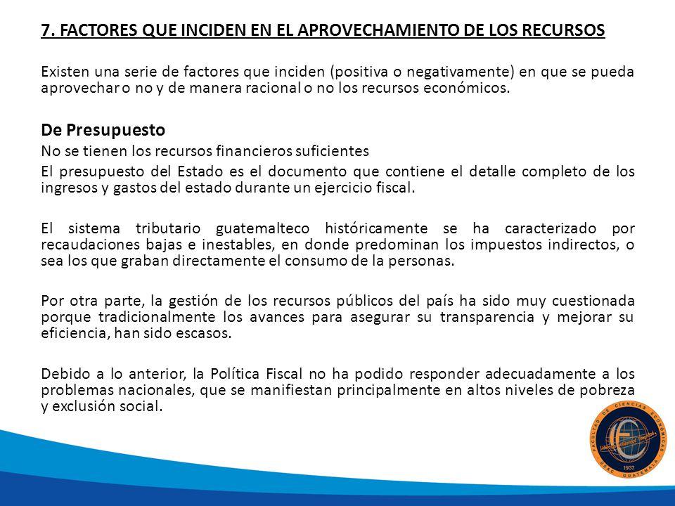 7. FACTORES QUE INCIDEN EN EL APROVECHAMIENTO DE LOS RECURSOS