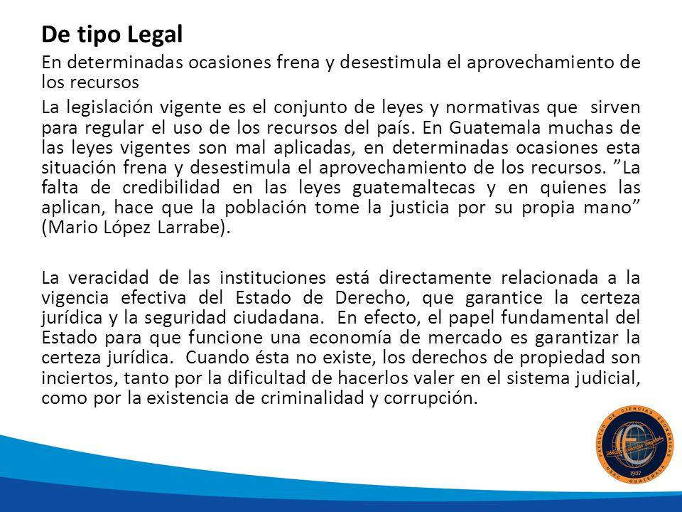 De tipo Legal En determinadas ocasiones frena y desestimula el aprovechamiento de los recursos.