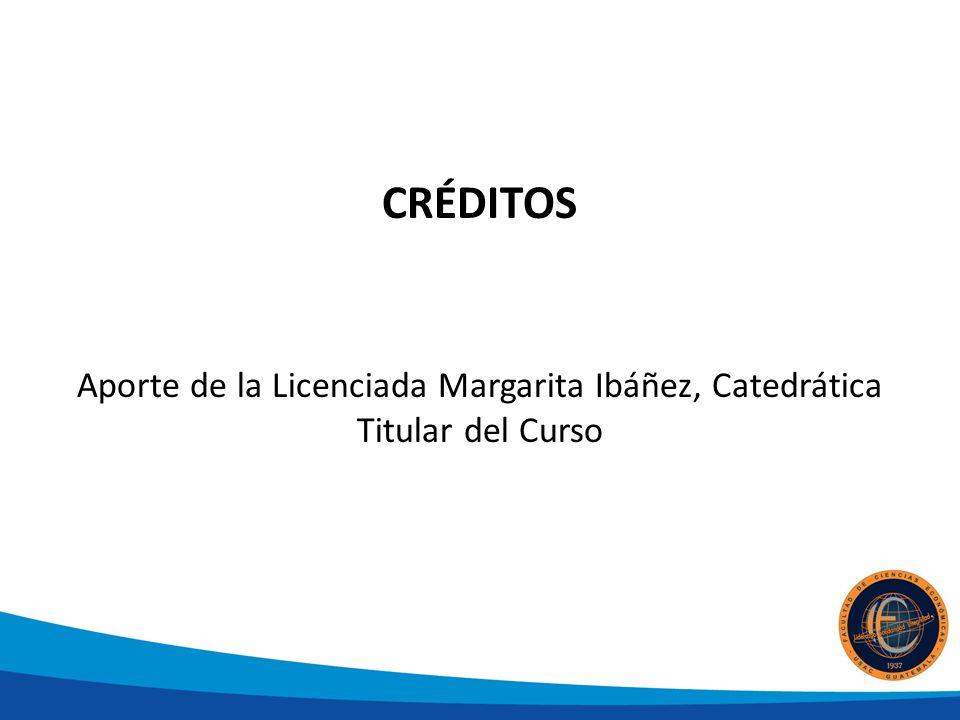 CRÉDITOS Aporte de la Licenciada Margarita Ibáñez, Catedrática Titular del Curso