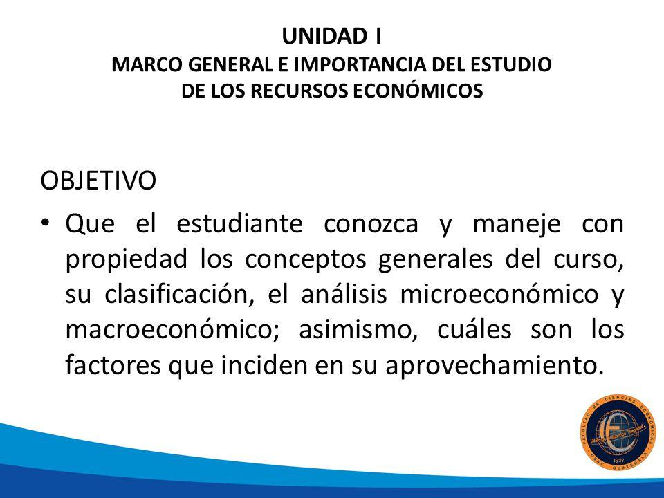 UNIDAD I MARCO GENERAL E IMPORTANCIA DEL ESTUDIO DE LOS RECURSOS ECONÓMICOS