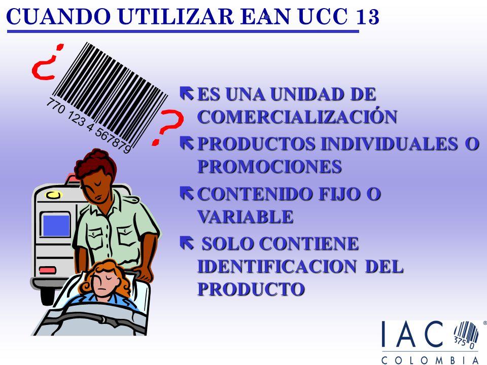 CUANDO UTILIZAR EAN UCC 13