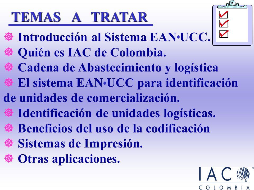 TEMAS A TRATAR Introducción al Sistema EAN UCC.