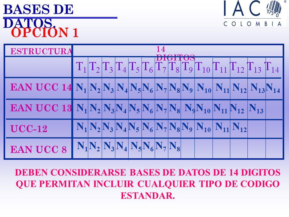BASES DE DATOS. ESTRUCTURA. EAN UCC 14. EAN UCC 13. UCC-12. EAN UCC 8. 14 DIGITOS. T1 T2 T3 T4 T5 T6 T7 T8 T9 T10 T11 T12 T13 T14.