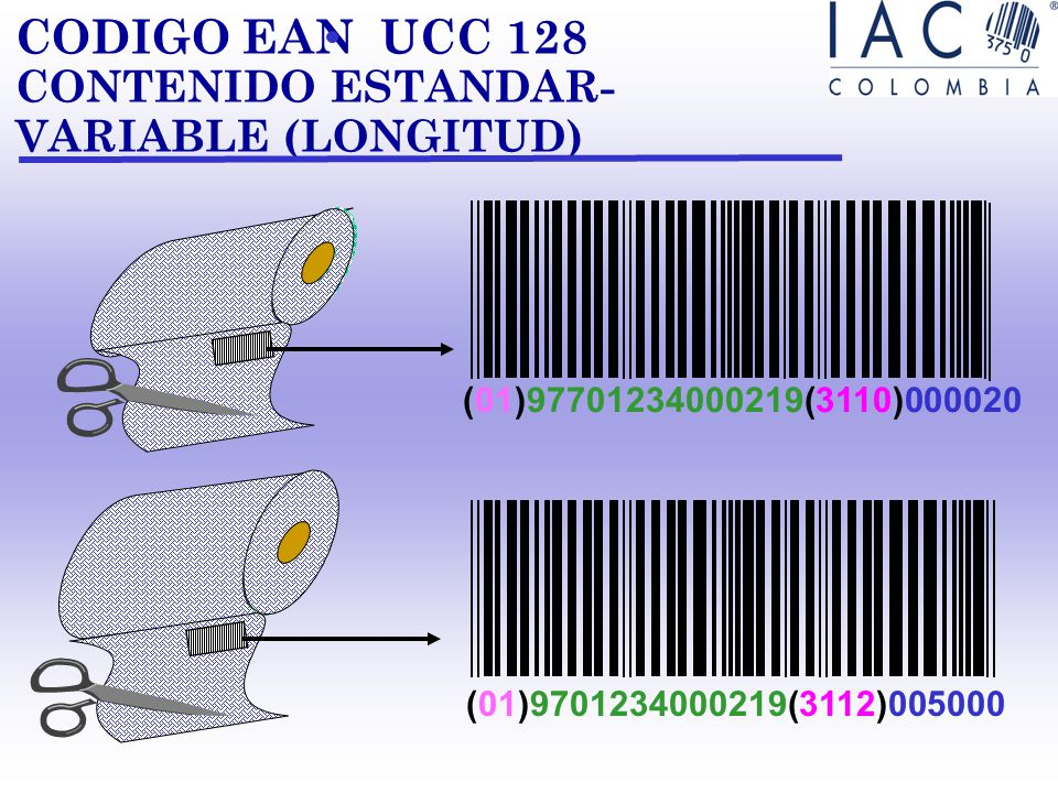 CODIGO EAN UCC 128 CONTENIDO ESTANDAR-VARIABLE (LONGITUD)