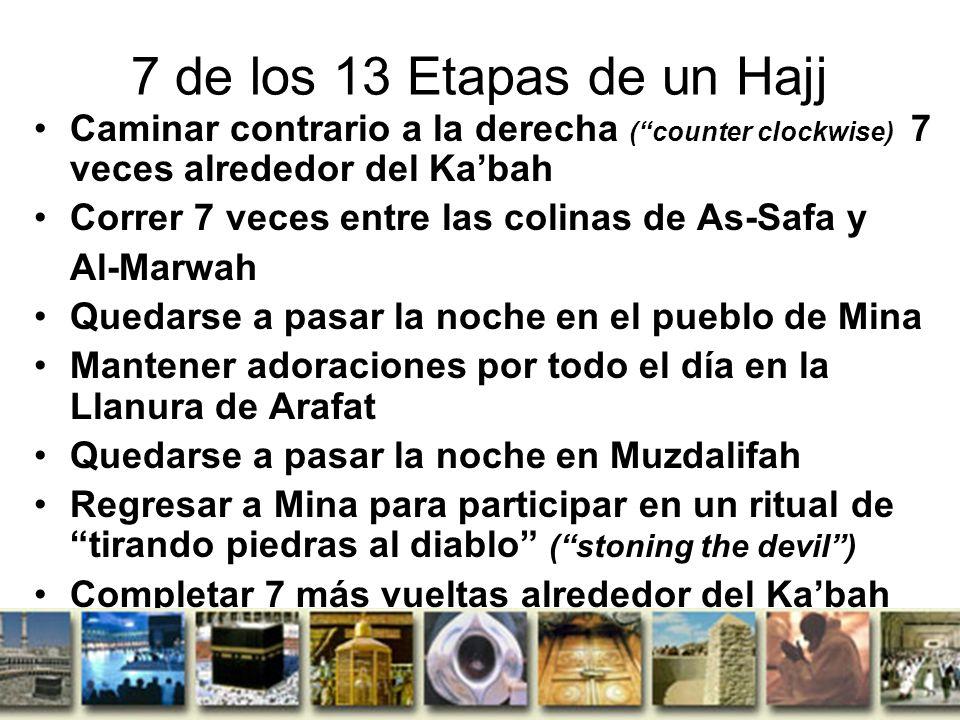 7 de los 13 Etapas de un Hajj Caminar contrario a la derecha ( counter clockwise) 7 veces alrededor del Ka'bah.