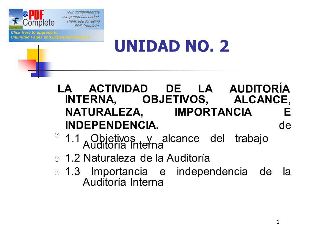 UNIDAD NO. 2 LA ACTIVIDAD DE LA AUDITORÍA ALCANCE, INTERNA, OBJETIVOS,