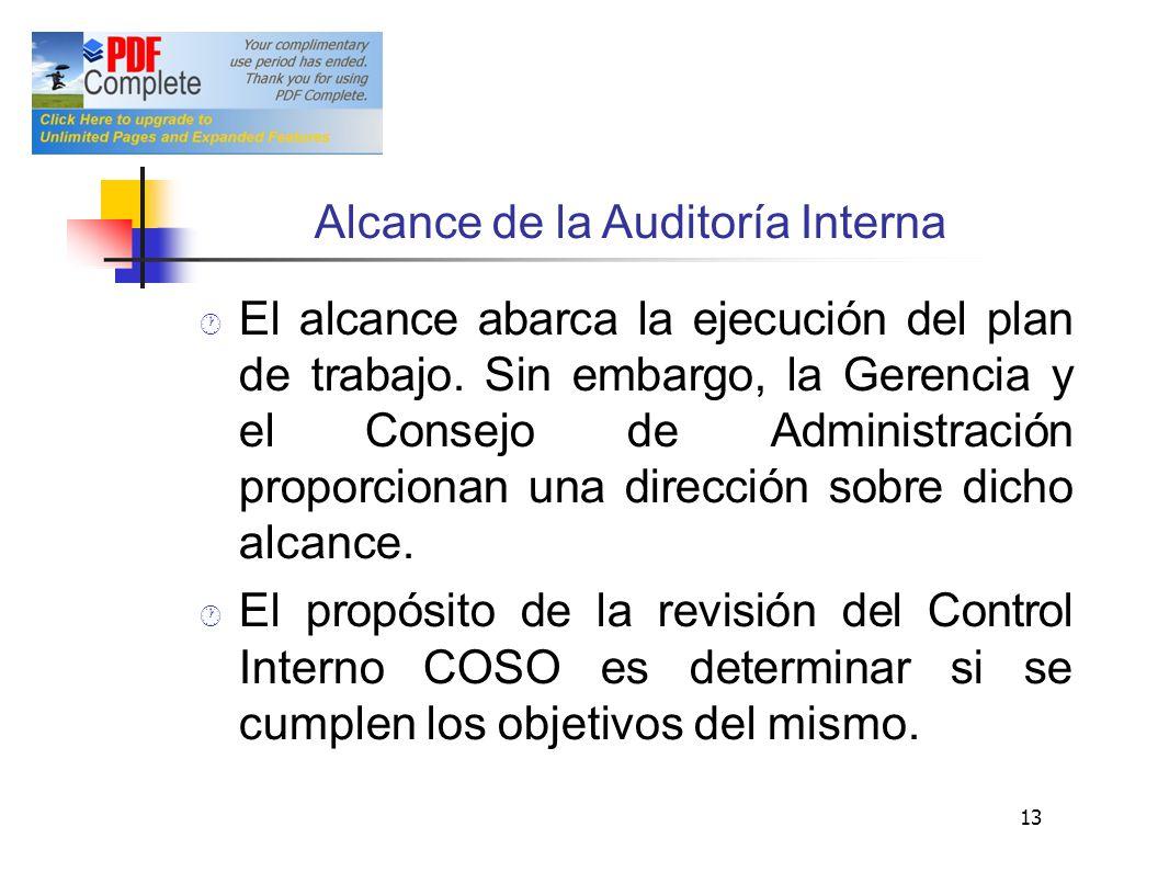 Alcance de la Auditoría Interna
