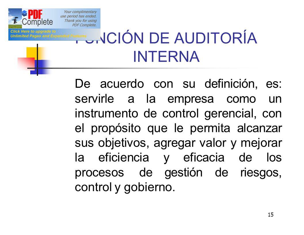 NCIÓN DE AUDITORÍA INTERNA