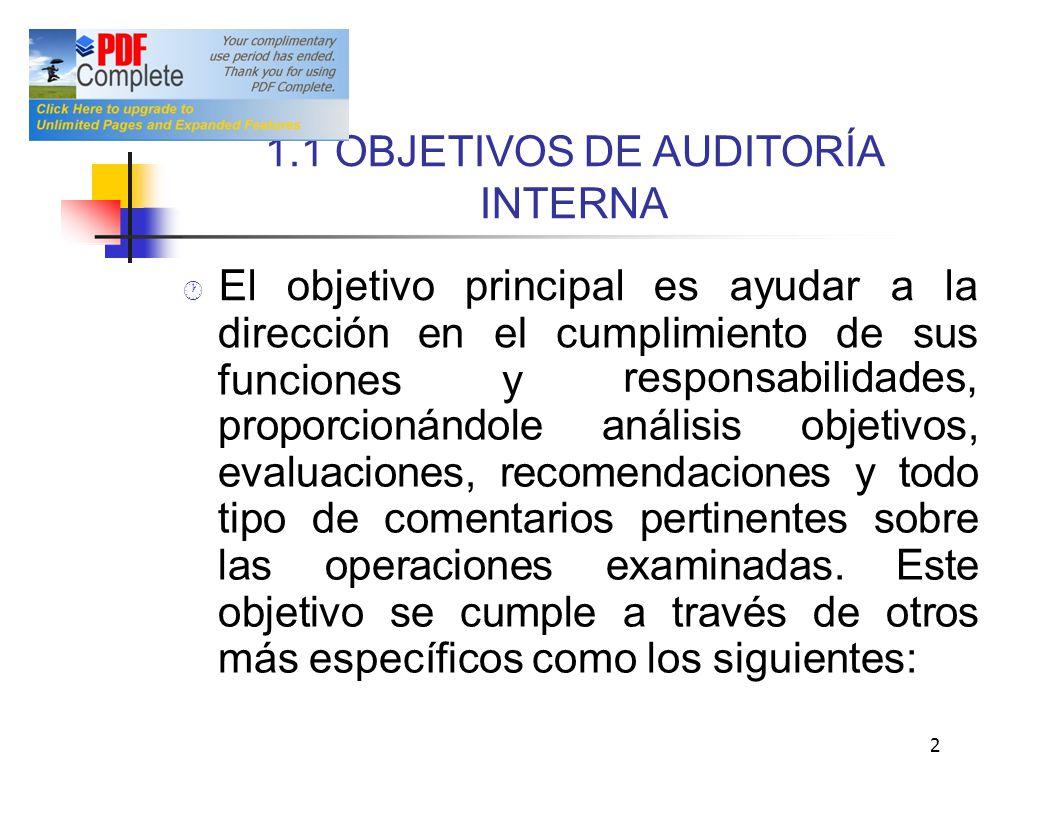 1.1 OBJETIVOS DE AUDITORÍA INTERNA