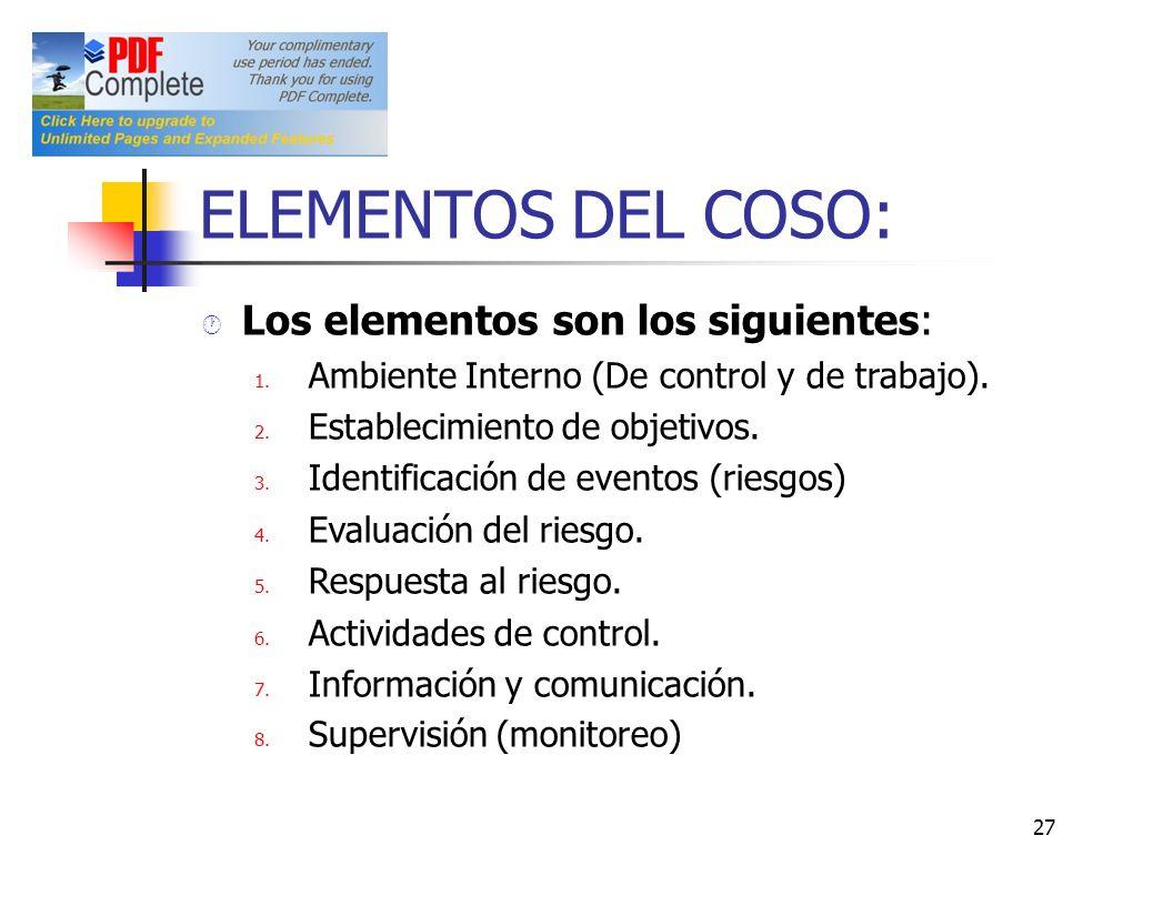 ELEMENTOS DEL COSO: Los elementos son los siguientes:
