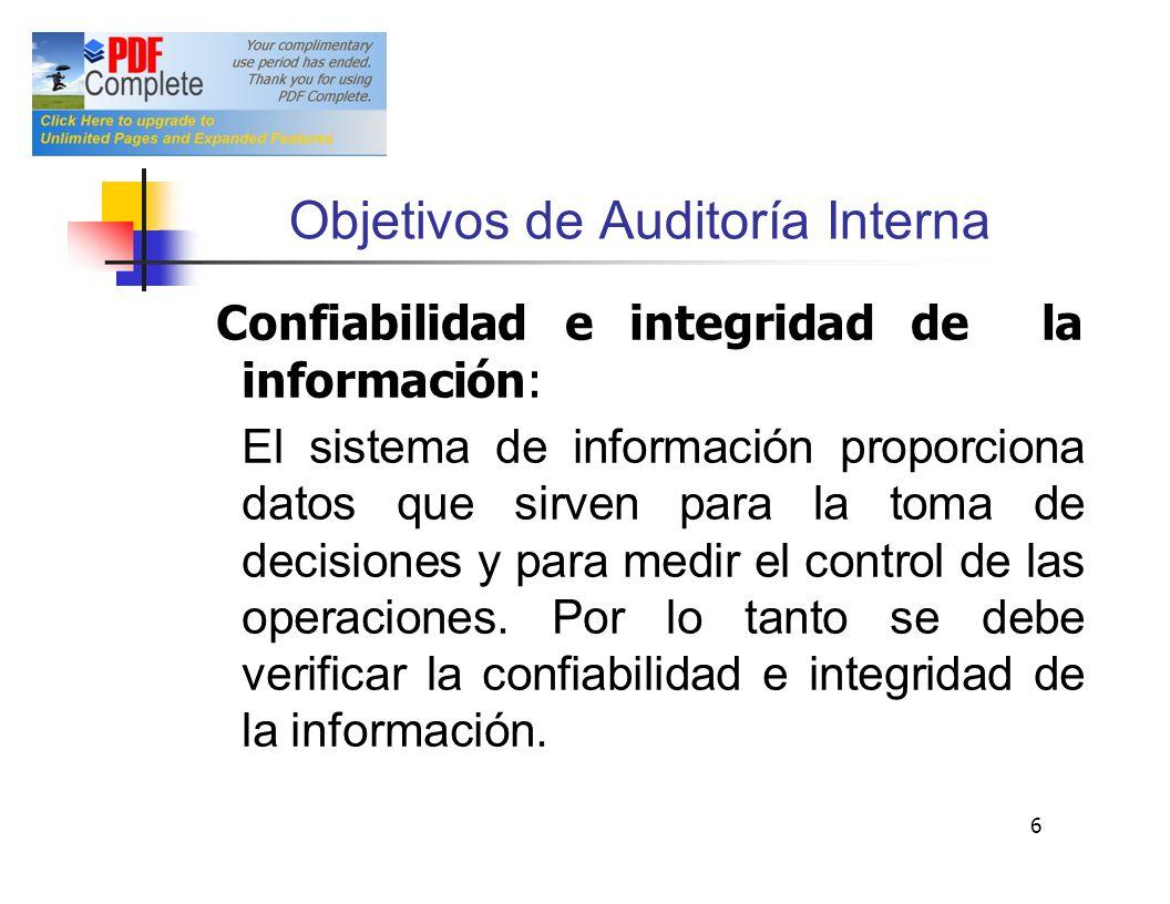 Objetivos de Auditoría Interna