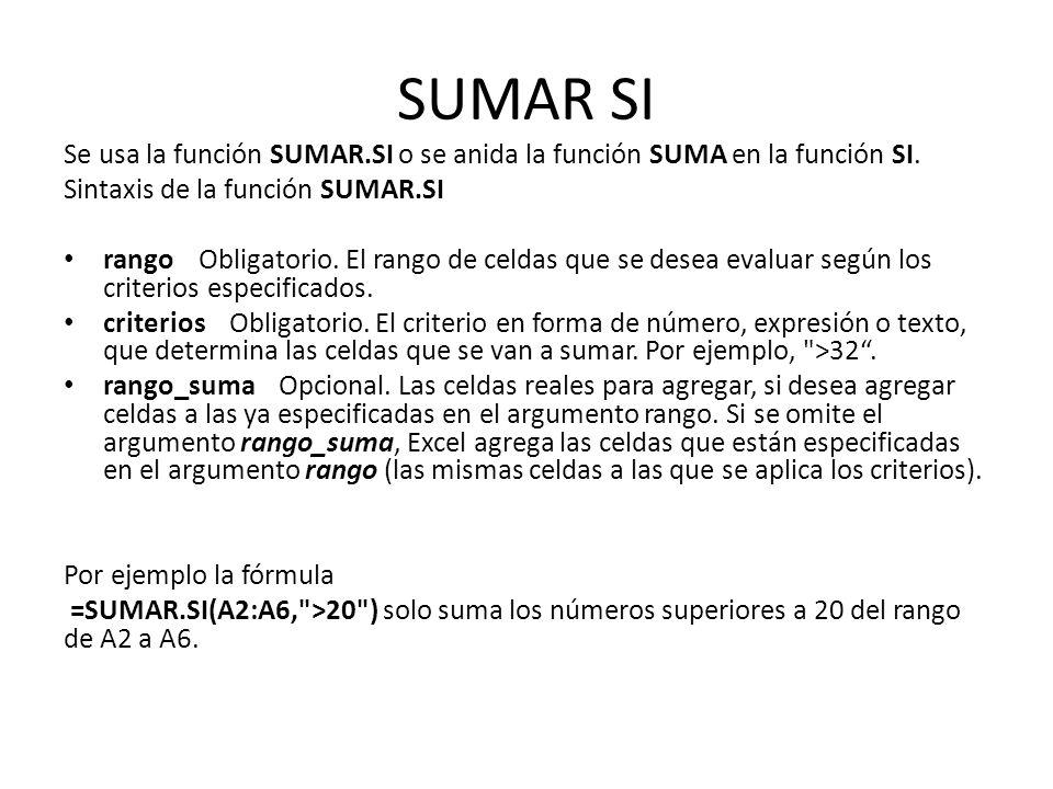 SUMAR SI Se usa la función SUMAR.SI o se anida la función SUMA en la función SI. Sintaxis de la función SUMAR.SI