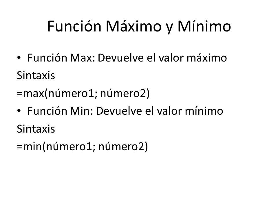 Función Máximo y Mínimo