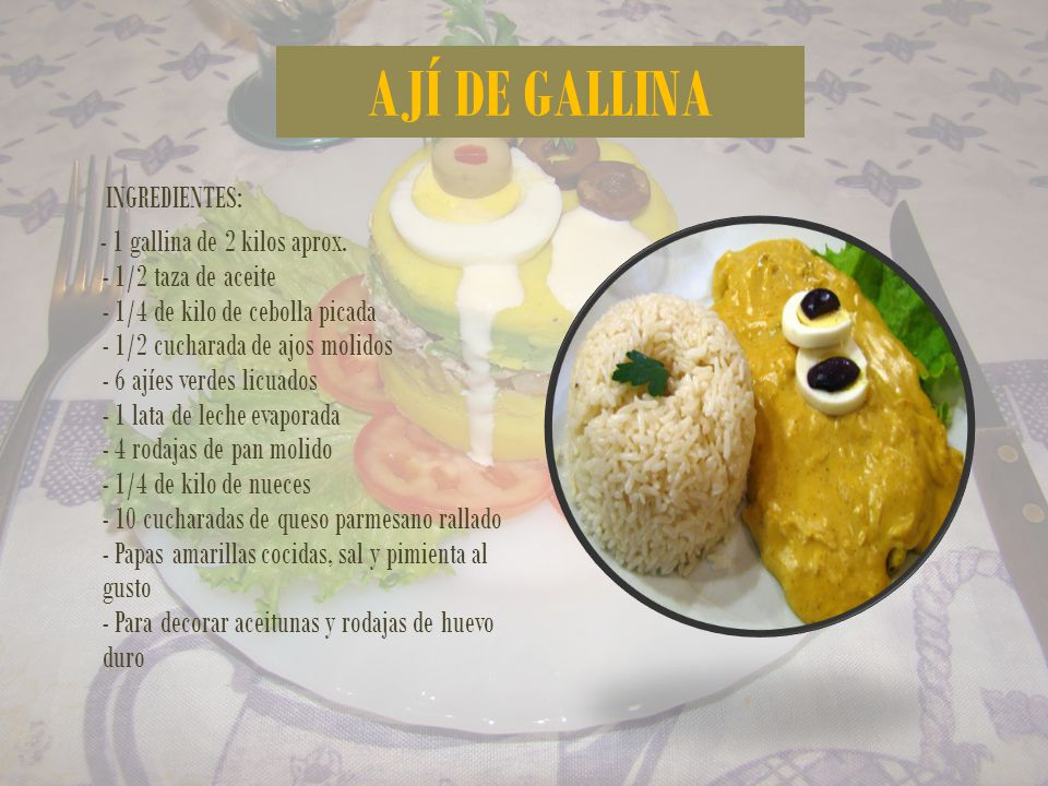 AJÍ DE GALLINA INGREDIENTES: