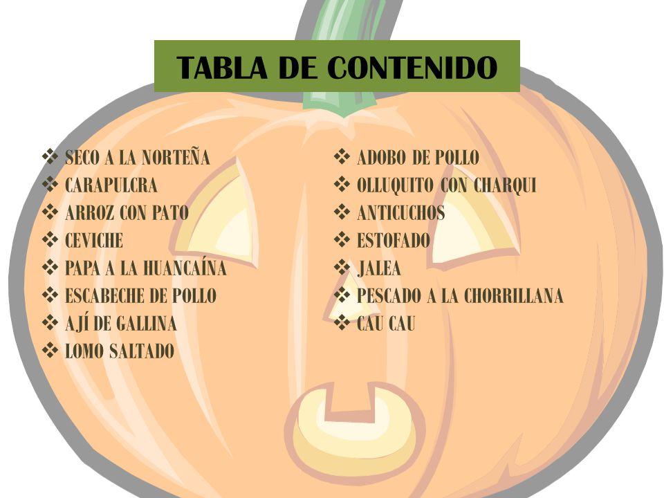 TABLA DE CONTENIDO SECO A LA NORTEÑA ADOBO DE POLLO CARAPULCRA