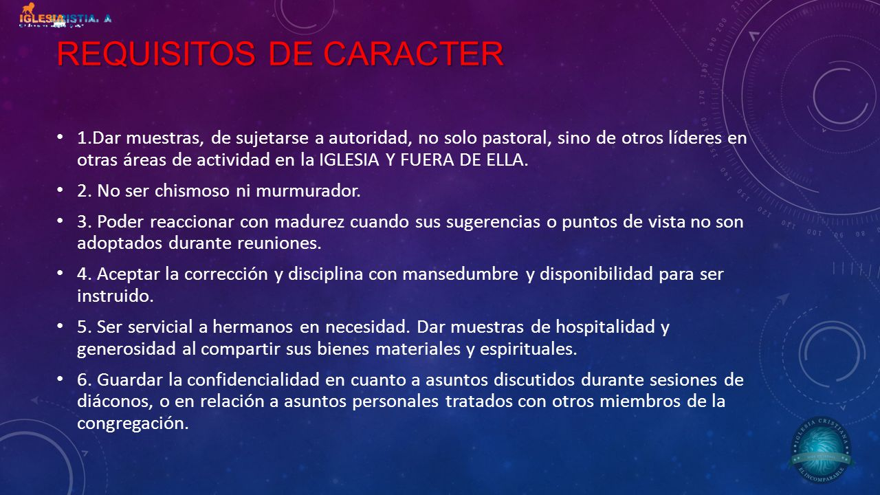 REQUISITOS DE CARACTER