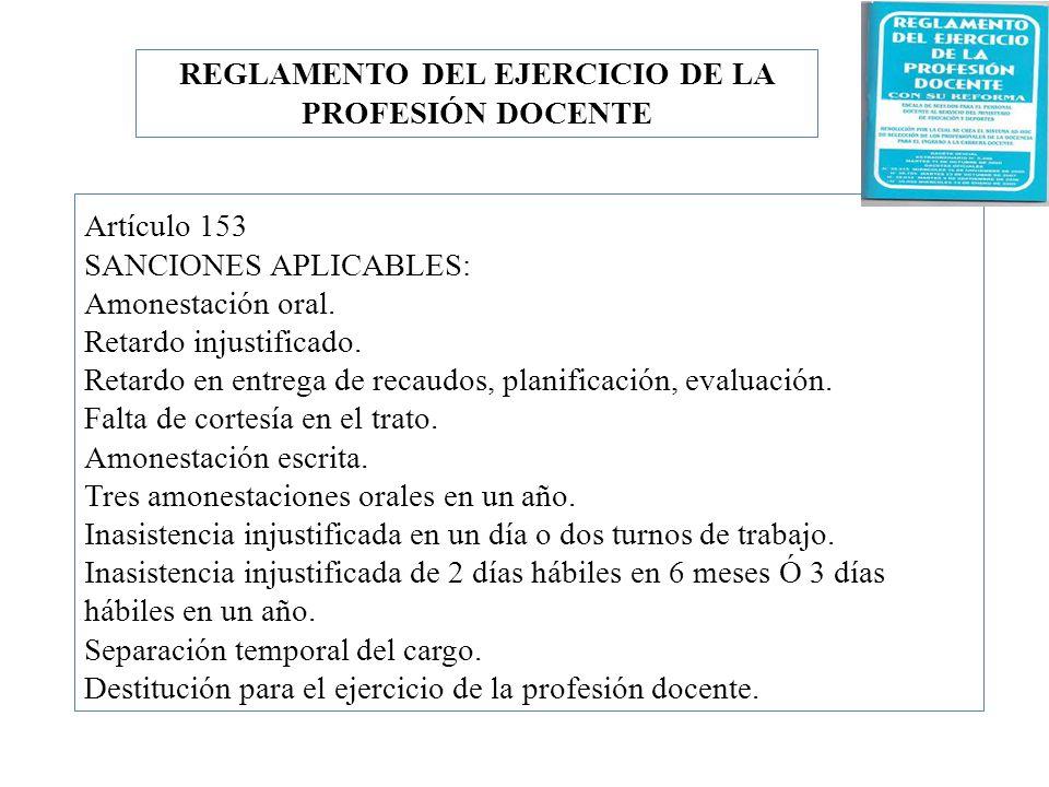 REGLAMENTO DEL EJERCICIO DE LA PROFESIÓN DOCENTE