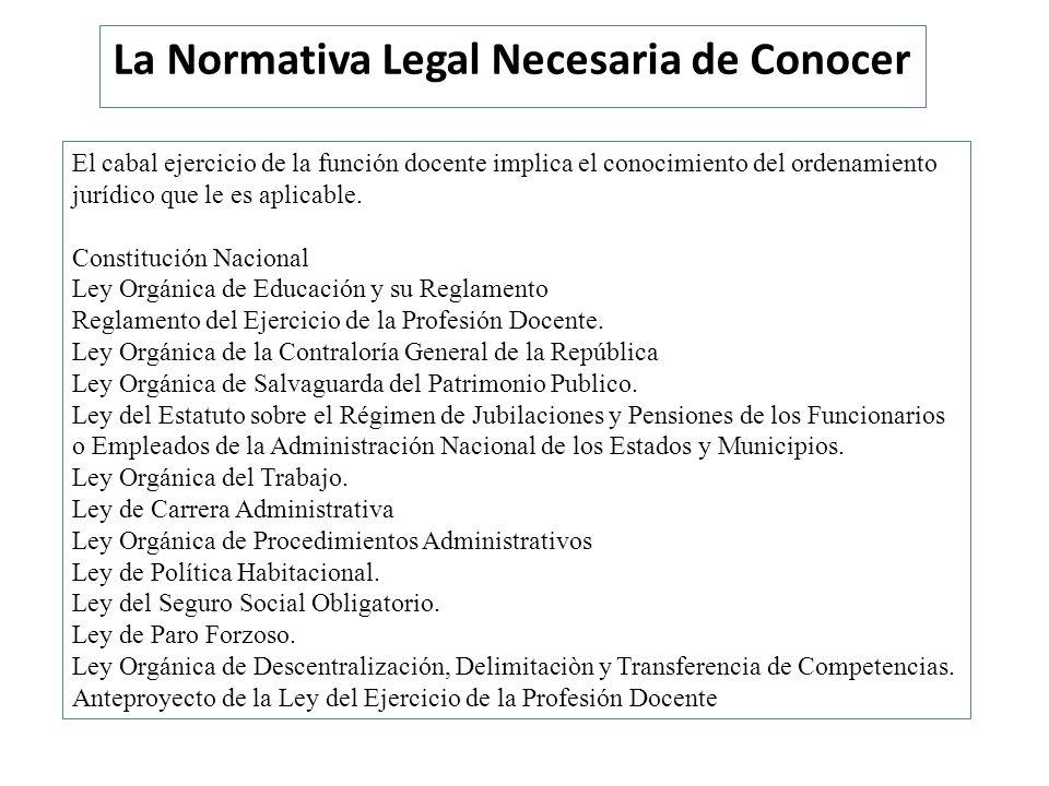 La Normativa Legal Necesaria de Conocer