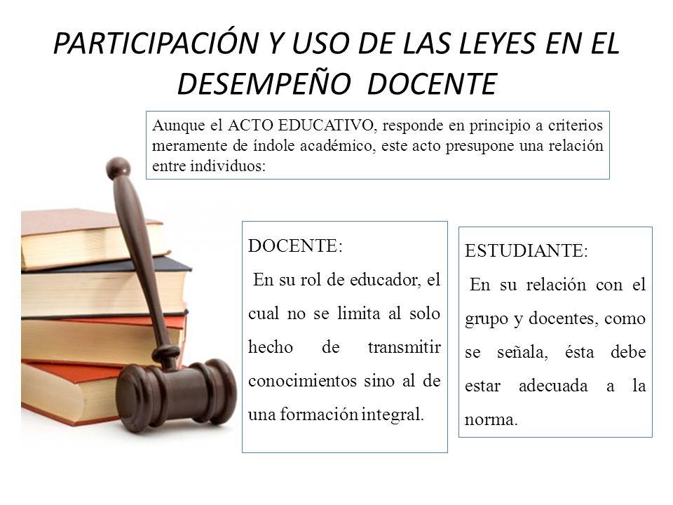 PARTICIPACIÓN Y USO DE LAS LEYES EN EL DESEMPEÑO DOCENTE
