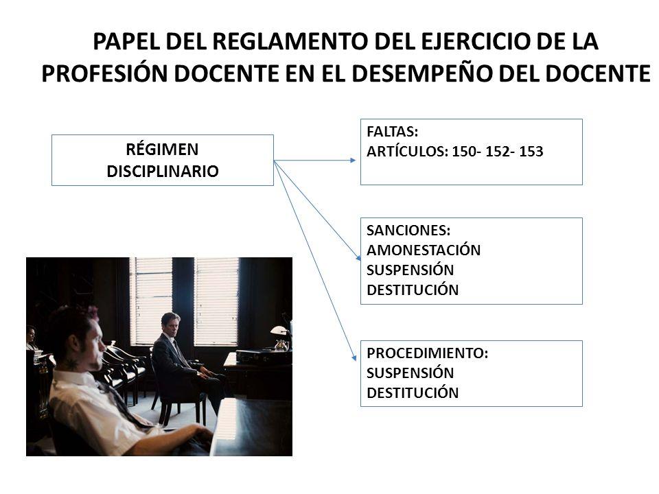 PAPEL DEL REGLAMENTO DEL EJERCICIO DE LA PROFESIÓN DOCENTE EN EL DESEMPEÑO DEL DOCENTE