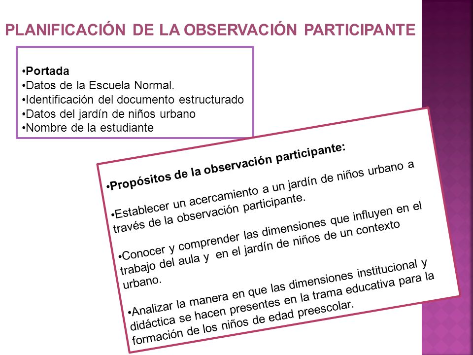 PLANIFICACIÓN DE LA OBSERVACIÓN PARTICIPANTE