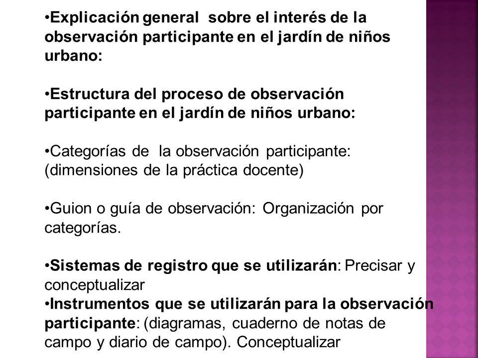 Explicación general sobre el interés de la observación participante en el jardín de niños urbano: