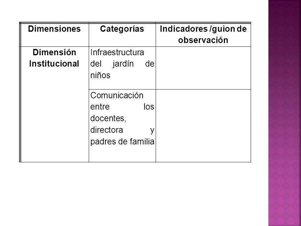 Indicadores /guion de observación Dimensión Institucional