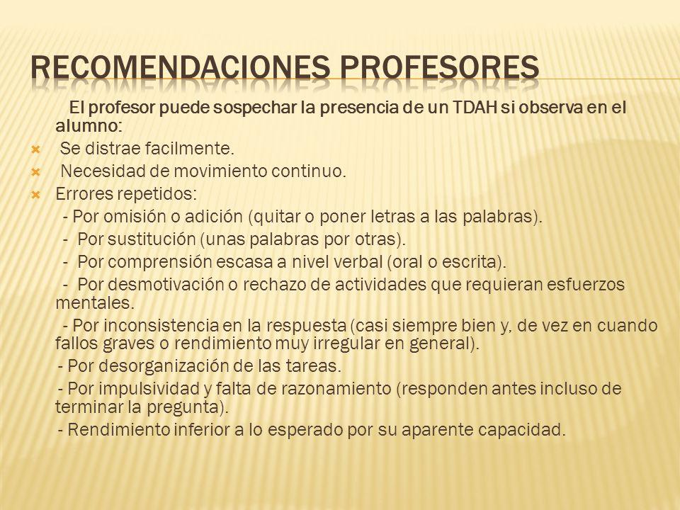 Recomendaciones profesores