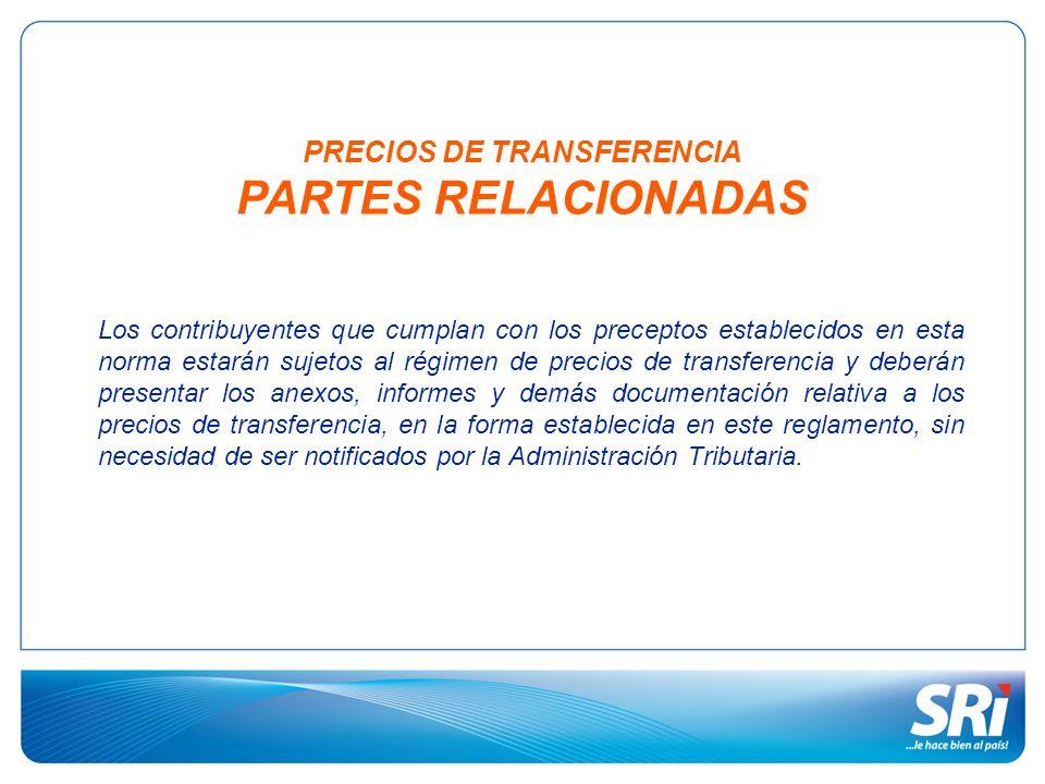 PRECIOS DE TRANSFERENCIA PARTES RELACIONADAS