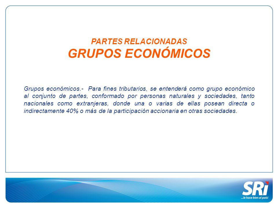 PARTES RELACIONADAS GRUPOS ECONÓMICOS