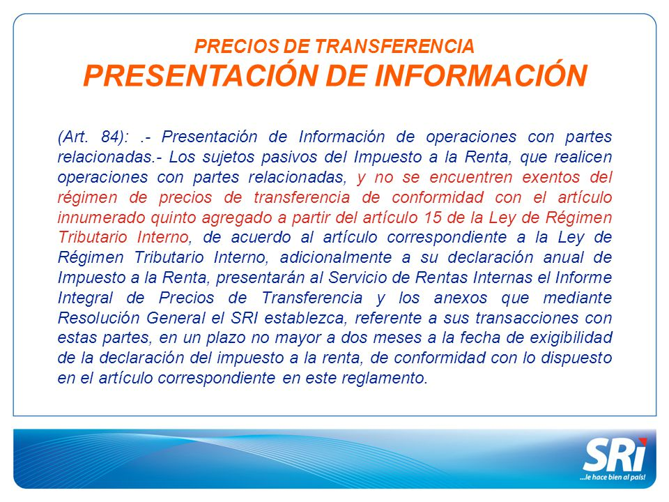 PRECIOS DE TRANSFERENCIA PRESENTACIÓN DE INFORMACIÓN