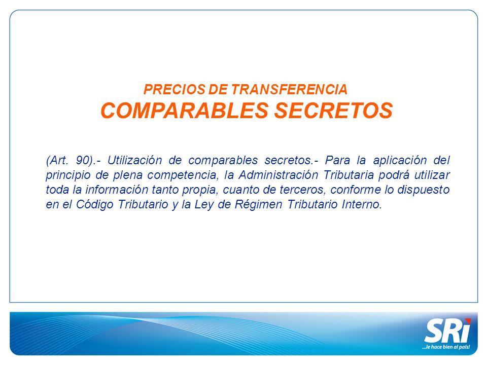 PRECIOS DE TRANSFERENCIA COMPARABLES SECRETOS