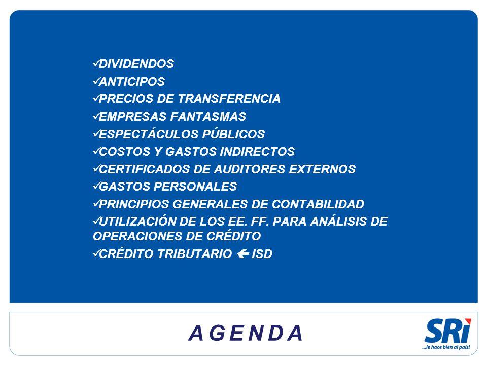 AGENDA DIVIDENDOS ANTICIPOS PRECIOS DE TRANSFERENCIA
