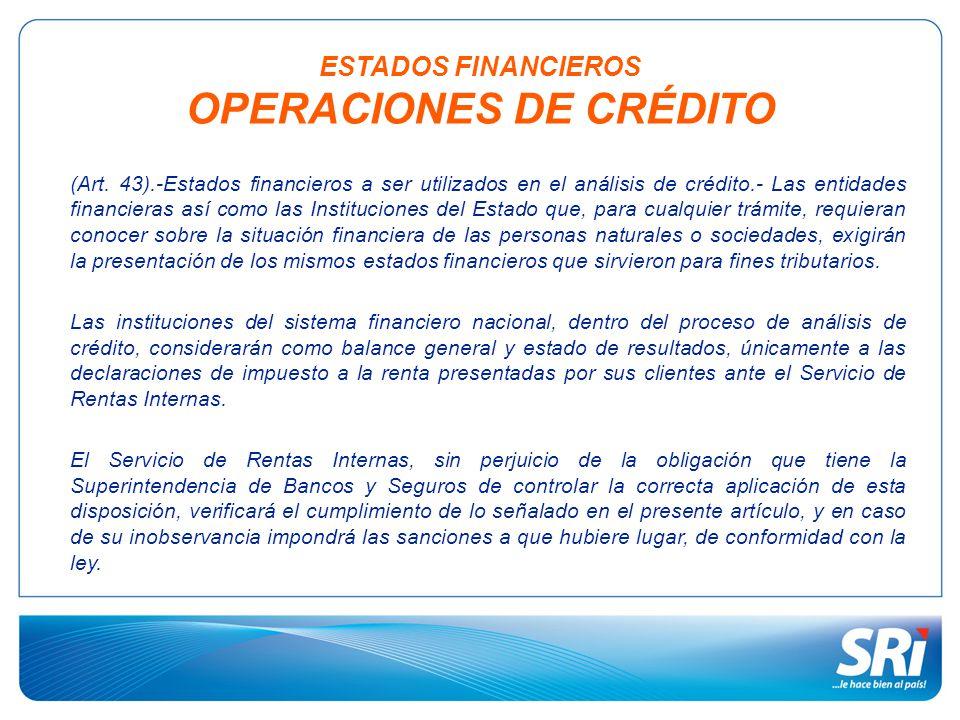 ESTADOS FINANCIEROS OPERACIONES DE CRÉDITO
