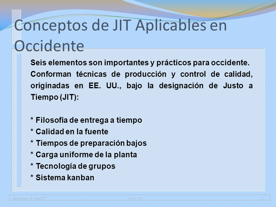 Conceptos de JIT Aplicables en Occidente