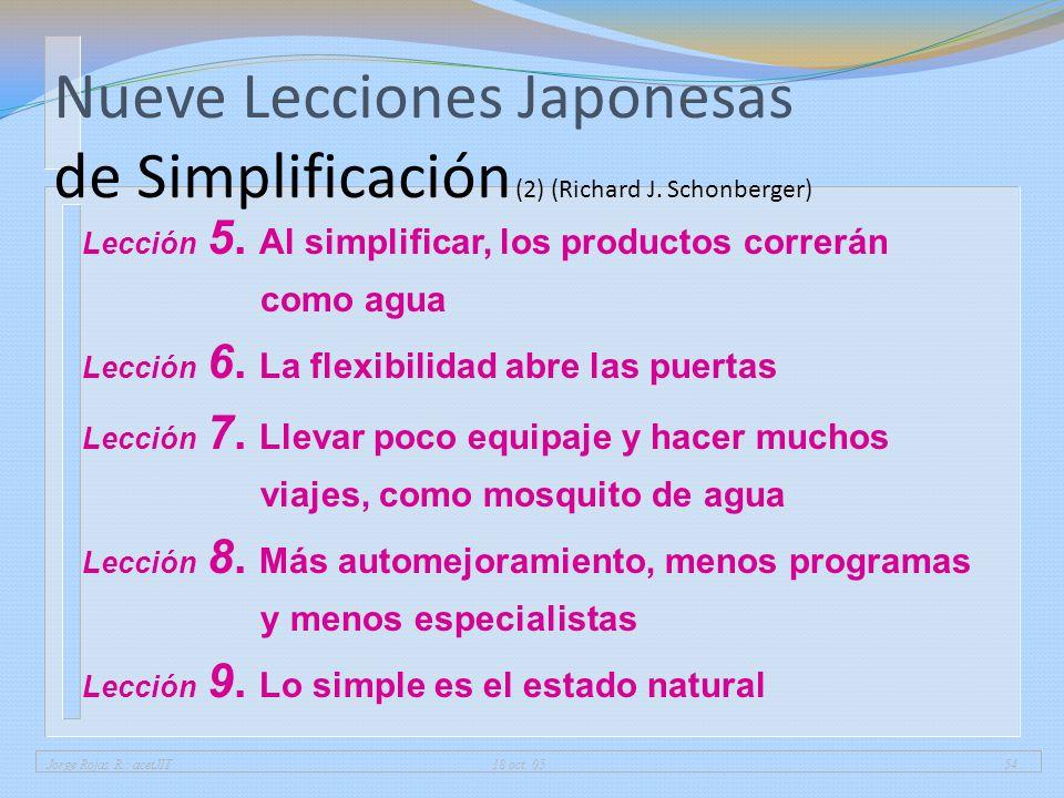 01/04/2017 Nueve Lecciones Japonesas de Simplificación (2) (Richard J. Schonberger) Lección 5. Al simplificar, los productos correrán como agua.