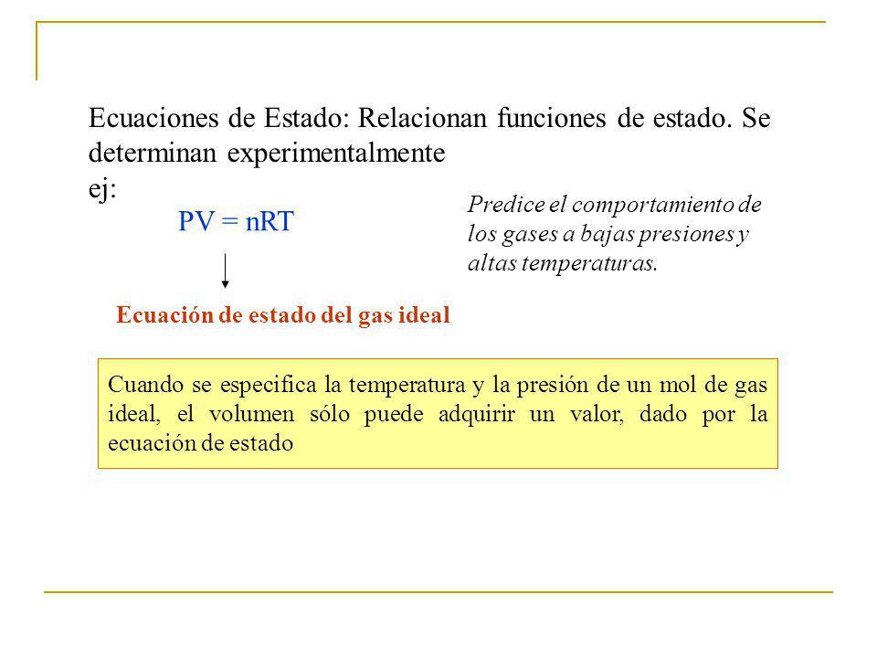 Ecuaciones de Estado: Relacionan funciones de estado