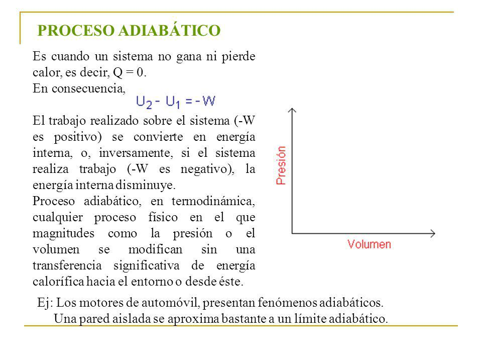 PROCESO ADIABÁTICO Es cuando un sistema no gana ni pierde calor, es decir, Q = 0.