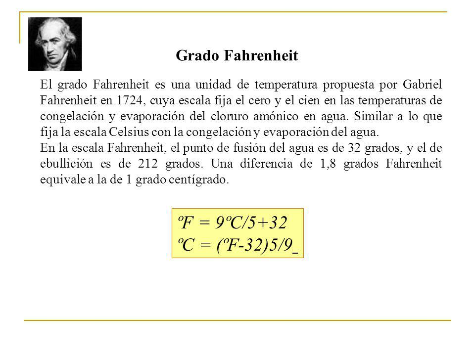 ºF = 9ºC/5+32 ºC = (ºF-32)5/9 Grado Fahrenheit