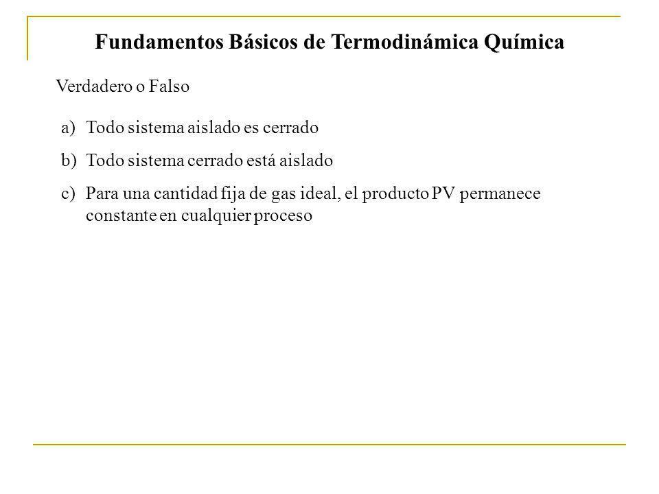 Fundamentos Básicos de Termodinámica Química