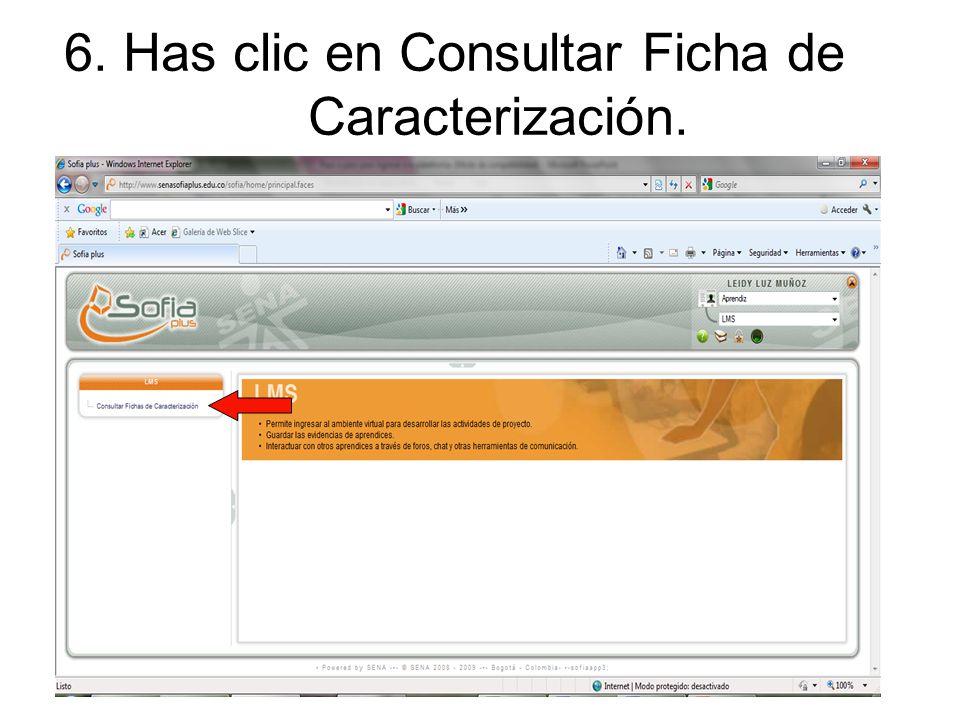 6. Has clic en Consultar Ficha de Caracterización.