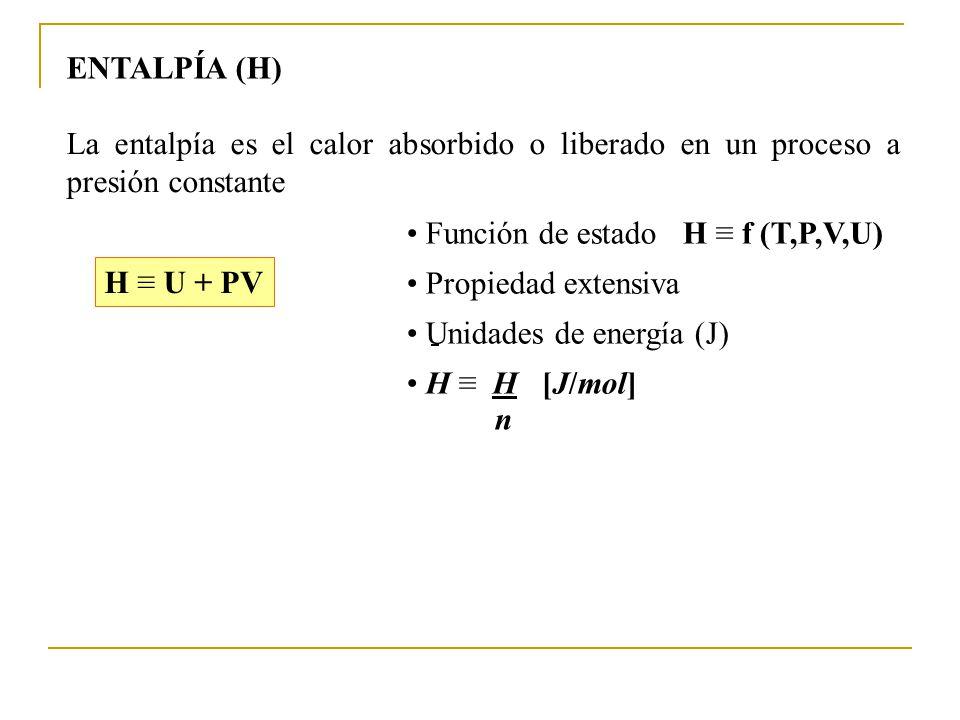 ENTALPÍA (H) La entalpía es el calor absorbido o liberado en un proceso a presión constante. • Función de estado H ≡ f (T,P,V,U)