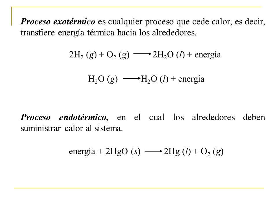 2H2 (g) + O2 (g) 2H2O (l) + energía