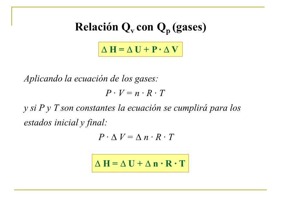 Relación Qv con Qp (gases)