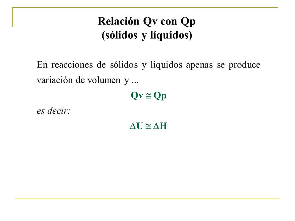 Relación Qv con Qp (sólidos y líquidos)