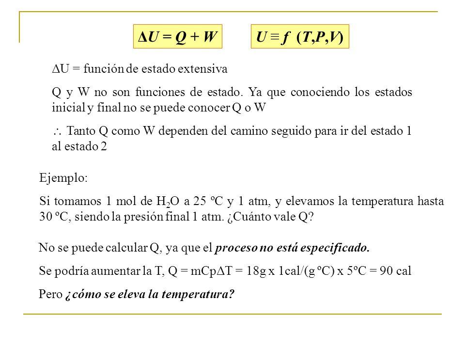 ΔU = Q + W U ≡ f (T,P,V) ΔU = función de estado extensiva