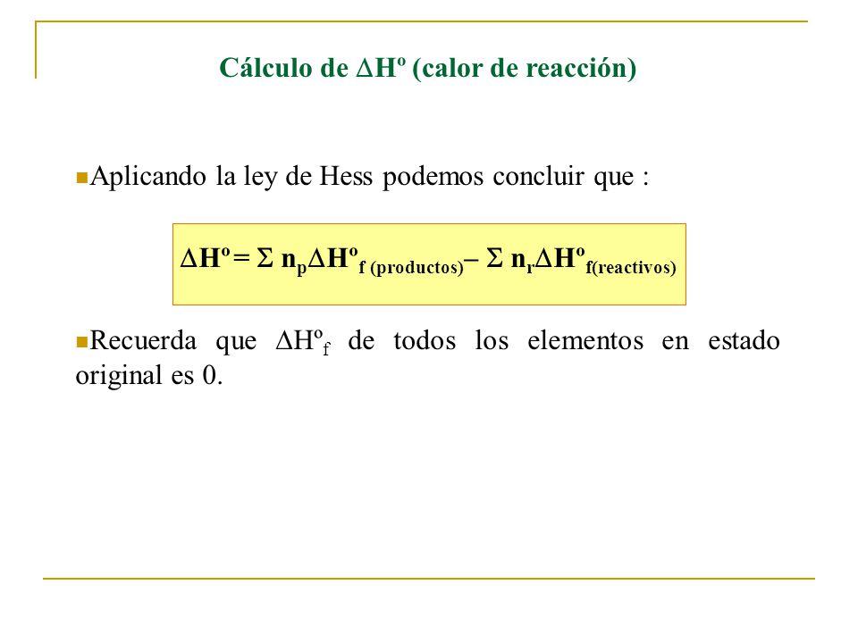 Cálculo de Hº (calor de reacción)