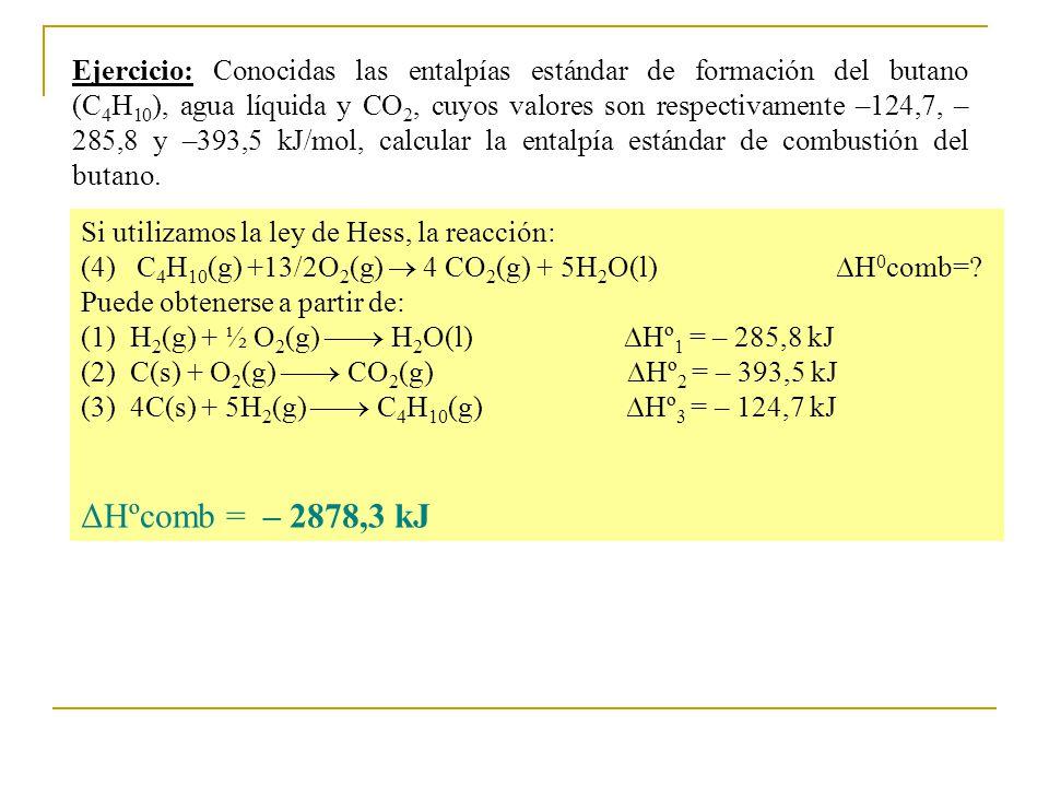 Ejercicio: Conocidas las entalpías estándar de formación del butano (C4H10), agua líquida y CO2, cuyos valores son respectivamente –124,7, –285,8 y –393,5 kJ/mol, calcular la entalpía estándar de combustión del butano.